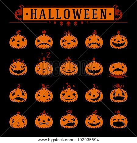 Halloween pumpkins objects emotions vector design elements set
