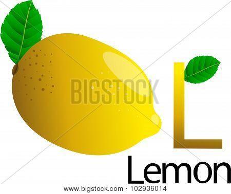 L font with lemon