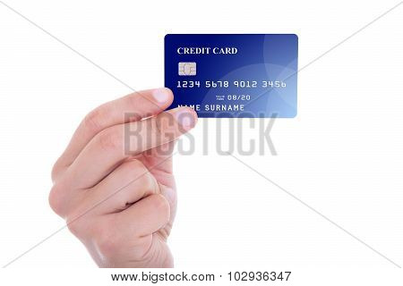 Male Hand Holding Credit Card Isolated On White