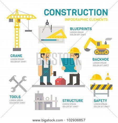 Construction Site Flat Design Infographic