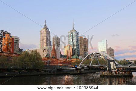 Melbourne cityscape sunset Australia