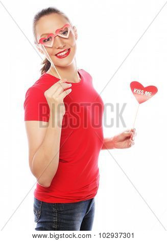 Valentines Day. Woman holding Valentines Day heart.