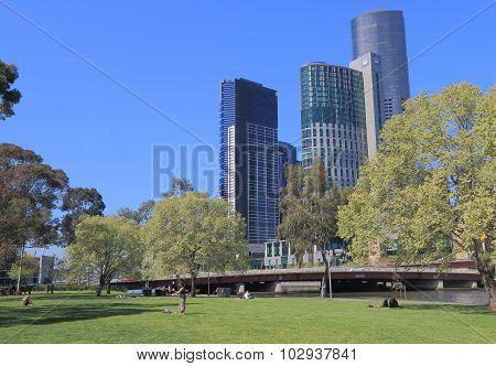 Melbourne waterfront park cityscape Australia