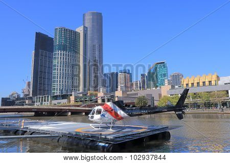 Melbourne cityscape and helicopter
