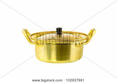 Brass Pot Close Up On White Background
