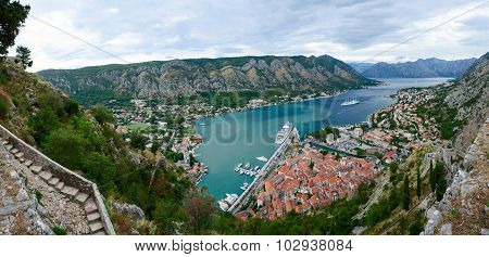 Panoramic View From Above On Boka Kotorska Bay, Montenegro