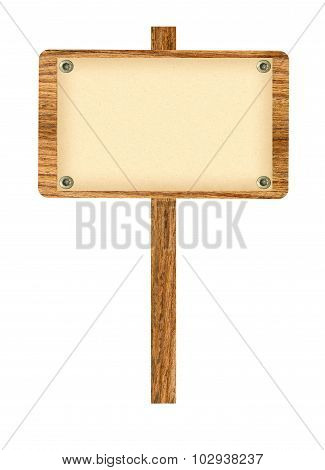 Wooden Old Sign Isolated On Background White