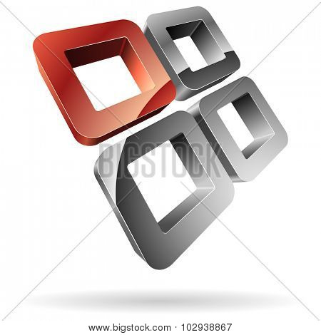 3D rounded steel squares with red one.