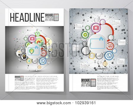 Business vector templates, brochure, flyer or booklet. Infographic networks with icons