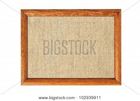Burlap Texture In Wooden Frame Isolated On White