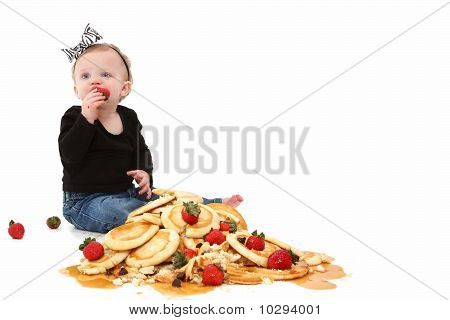 Baby Girl With Pancakes