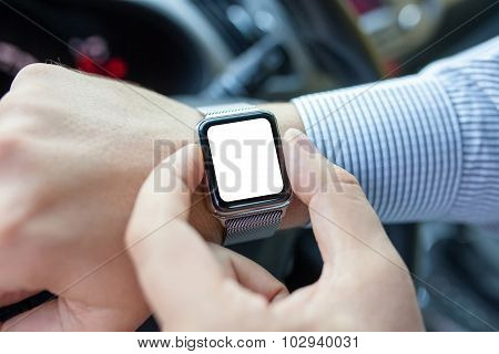 Male Hands In The Car And Watch With Isolated Screen