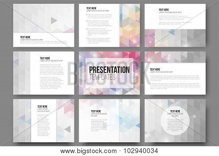 Set of 9 templates for presentation slides. Abstract vibrant backgrounds. Triangle design vectors