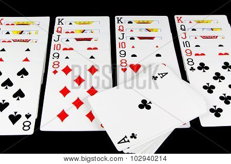 Playing Cards Game On Black Background