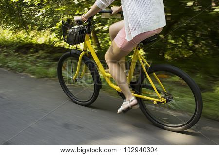 Riding yellow bicycle on the forest road. Close-up of young woman riding bicycle