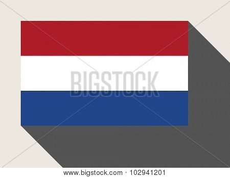 Netherlands flag in flat web design style.