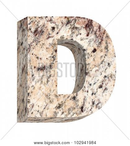 One letter from granite alphabet set isolated over white. Computer generated 3D photo rendering.