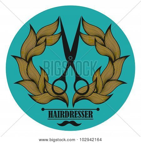 Vintage label for hairdresser and barber with scissors.