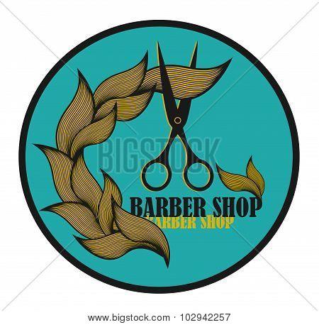 Vintage label for hairdresser and barber with scissors.