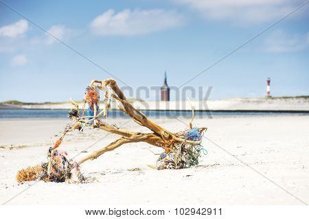 Driftwood Logs On Beach