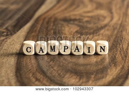 Word Campaign On Wooden Cubes