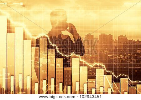 Double Exposure Of Crisis Illustration With Business Graph And Man Talking By Phone