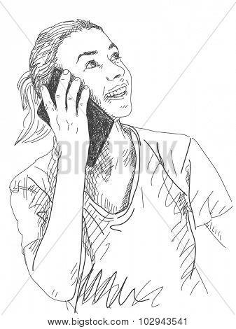 Sketch of woman talking smart phone, Hand drawn vector illustration