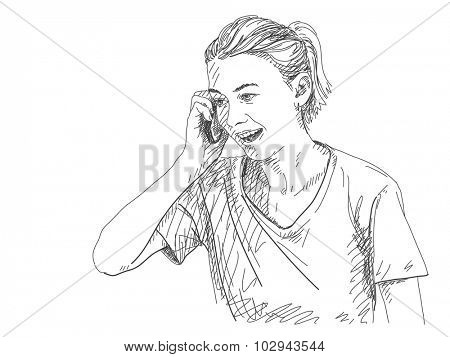Sketch of woman talking mobile phone, Hand drawn vector illustration