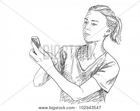 Sketch of woman with mobile phone, Hand drawn illustration