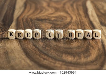 Word Keep It Real On Wooden Cubes