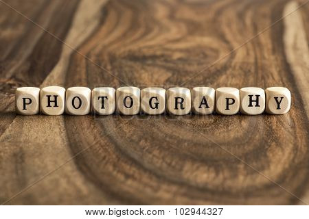 Word Photography On Wooden Cubes