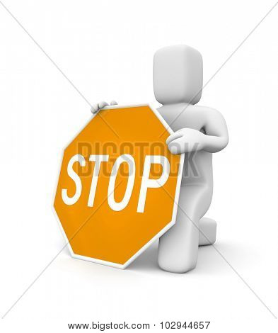 3d man and Stop sign