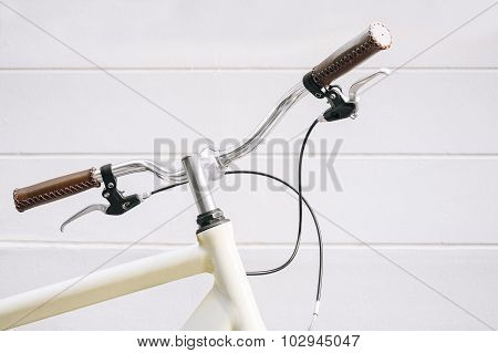 Bicycle Handlebar on white wall background