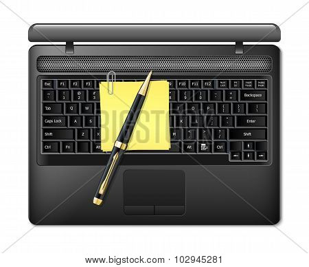 Vector Laptop With Pen And Sticky Paper. Top View