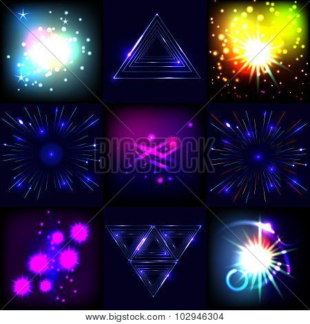 Explosions and fireworks vector set