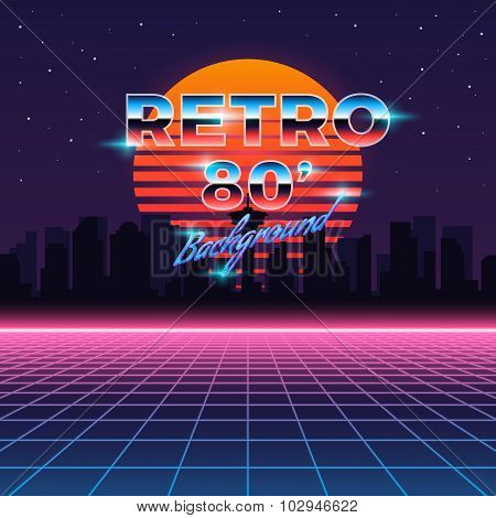 Retro Neon Abstract Sci Fi Vector Background In 80s Style Poster Id