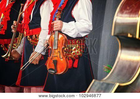 Folk Musician With Contrabass