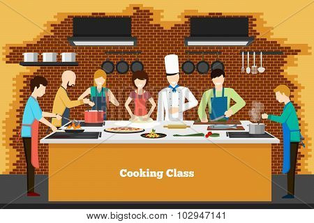 Cooking class in kitchen