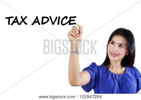 Pretty Consultant Writes Tax Advice