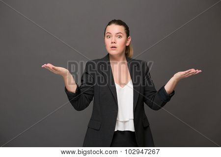 Surprised and disappointed businesswoman