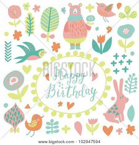 Happy birthday - lovely vector card. Awesome cartoon collection in vector. Concept set with birds and animals. Swallow, rabbit, bear, flowers and bird in sweet pastel colors in vector