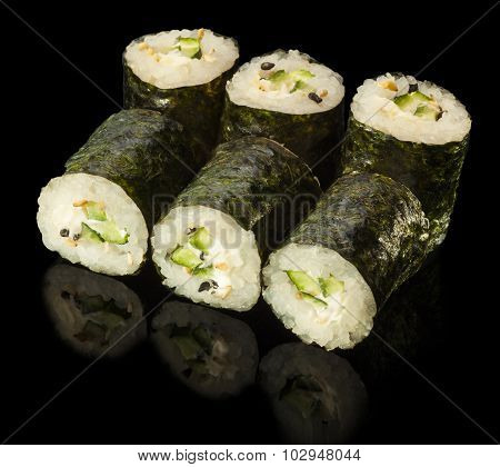 Sushi Roll With Cucumber And Cream Cheese