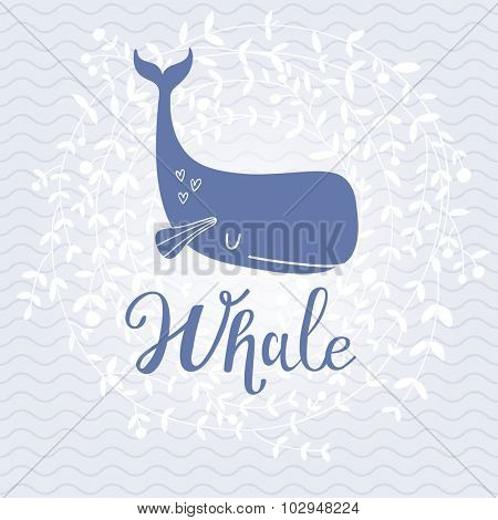 Awesome whale card. Lovely whale on stylish blue colored background with floral wreath in vector. Lovely childish card in stylish colors