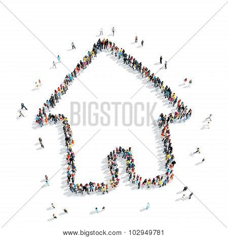 group  people  form  house