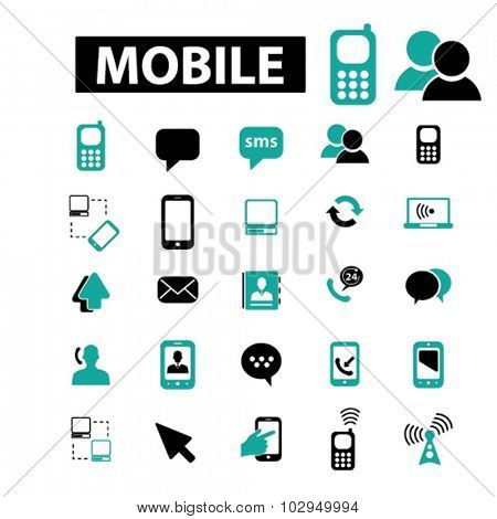 mobile, connection, communication icons