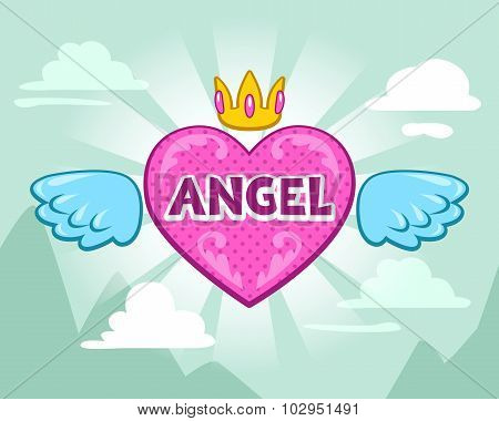 Cute girlish vector illustration with angel heart