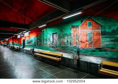 Modern Stockholm Metro Train Station in red and green colors, Sw