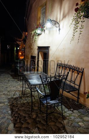 Street Cafe Bar At Night, Romania
