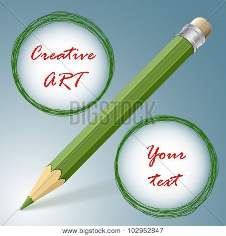 Creative Art Concept. Pencil With Two Doodle Circles Resemble A Percent Sign. Ideal For Sales Or Spe