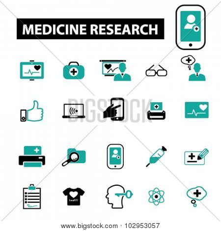 medicine, research icons